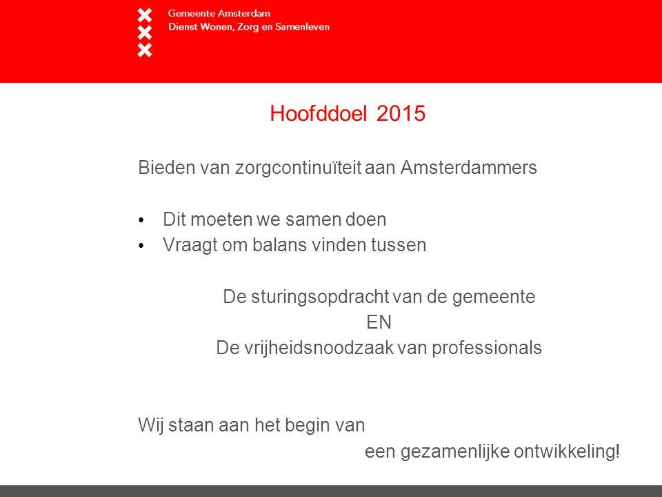 Hoofddoel 2015 Bieden van zorgcontinuïteit aan Amsterdammers Dit moeten we samen doen Vraagt om balans vinden tussen De sturingsopdracht van de gemeente EN De vrijheidsnoodzaak van professionals Wij staan aan het begin van een gezamenlijke ontwikkeling!