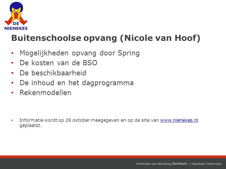 Buitenschoolse opvang (Nicole van Hoof) Mogelijkheden opvang door Spring De kosten van de BSO De beschikbaarheid De inhoud en het dagprogramma Rekenmo