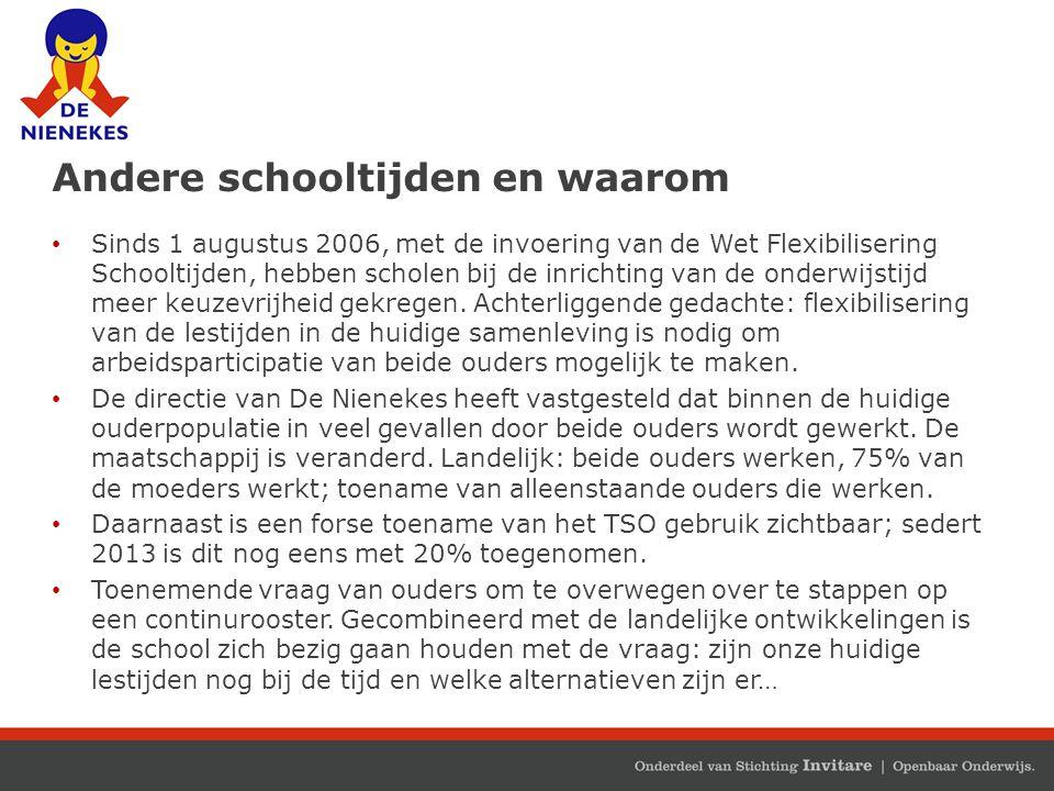 Andere schooltijden en waarom Sinds 1 augustus 2006, met de invoering van de Wet Flexibilisering Schooltijden, hebben scholen bij de inrichting van de