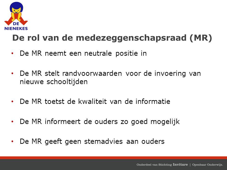 De rol van de medezeggenschapsraad (MR) De MR neemt een neutrale positie in De MR stelt randvoorwaarden voor de invoering van nieuwe schooltijden De M