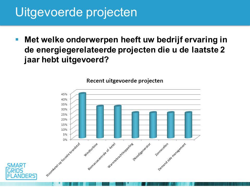Uitgevoerde projecten  Met welke onderwerpen heeft uw bedrijf ervaring in de energiegerelateerde projecten die u de laatste 2 jaar hebt uitgevoerd?