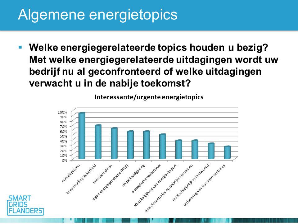 Algemene energietopics  Welke energiegerelateerde topics houden u bezig.