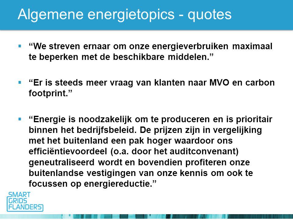 Algemene energietopics - quotes  We streven ernaar om onze energieverbruiken maximaal te beperken met de beschikbare middelen.  Er is steeds meer vraag van klanten naar MVO en carbon footprint.  Energie is noodzakelijk om te produceren en is prioritair binnen het bedrijfsbeleid.