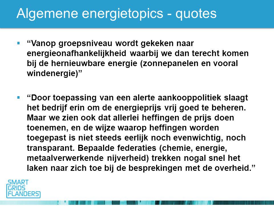 Algemene energietopics - quotes  Vanop groepsniveau wordt gekeken naar energieonafhankelijkheid waarbij we dan terecht komen bij de hernieuwbare energie (zonnepanelen en vooral windenergie)  Door toepassing van een alerte aankooppolitiek slaagt het bedrijf erin om de energieprijs vrij goed te beheren.