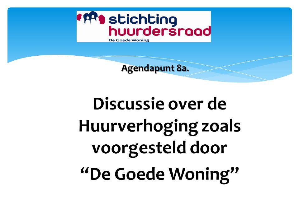 """Agendapunt 8a. Discussie over de Huurverhoging zoals voorgesteld door """"De Goede Woning"""""""