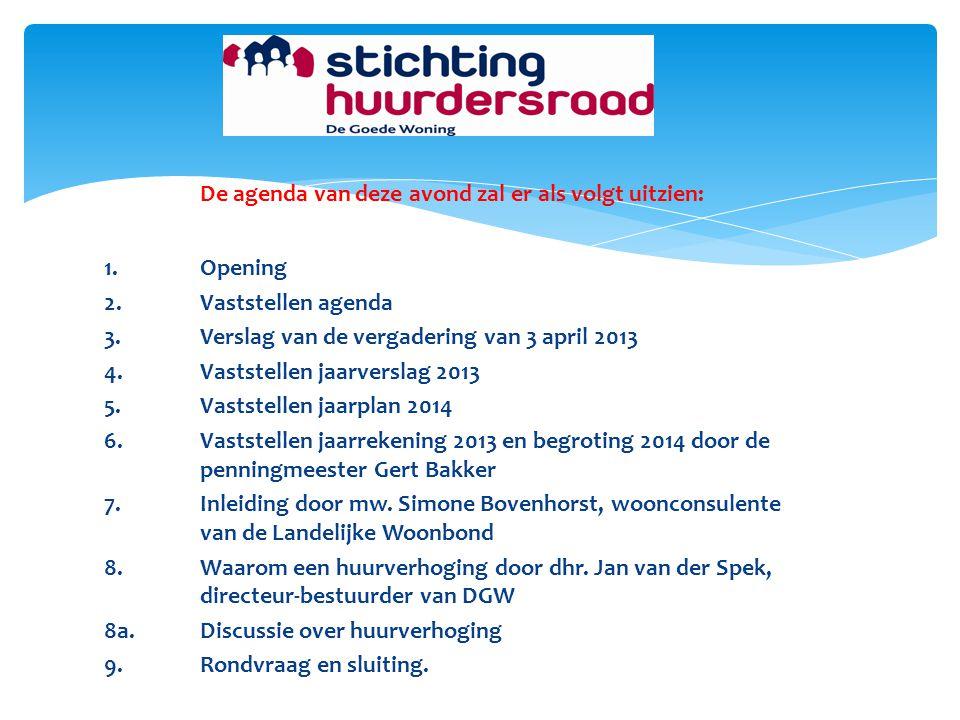 De agenda van deze avond zal er als volgt uitzien: 1.Opening 2.Vaststellen agenda 3.Verslag van de vergadering van 3 april 2013 4.Vaststellen jaarvers