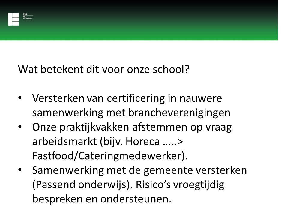 Wat betekent dit voor onze school? Versterken van certificering in nauwere samenwerking met brancheverenigingen Onze praktijkvakken afstemmen op vraag