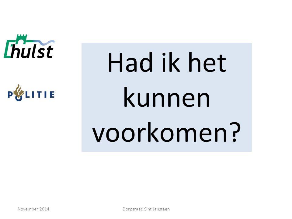 November 2014 Woninginbraken Dorpsraad Sint Jansteen