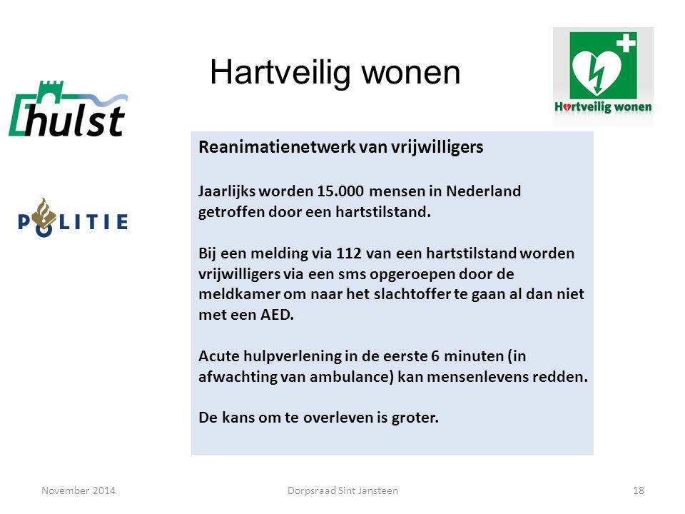 November 201418 Hartveilig wonen Reanimatienetwerk van vrijwilligers Jaarlijks worden 15.000 mensen in Nederland getroffen door een hartstilstand. Bij
