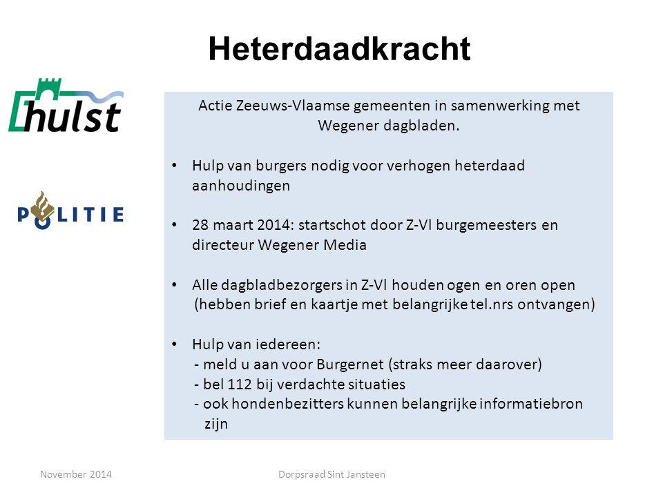 November 2014 Heterdaadkracht Actie Zeeuws-Vlaamse gemeenten in samenwerking met Wegener dagbladen. Hulp van burgers nodig voor verhogen heterdaad aan