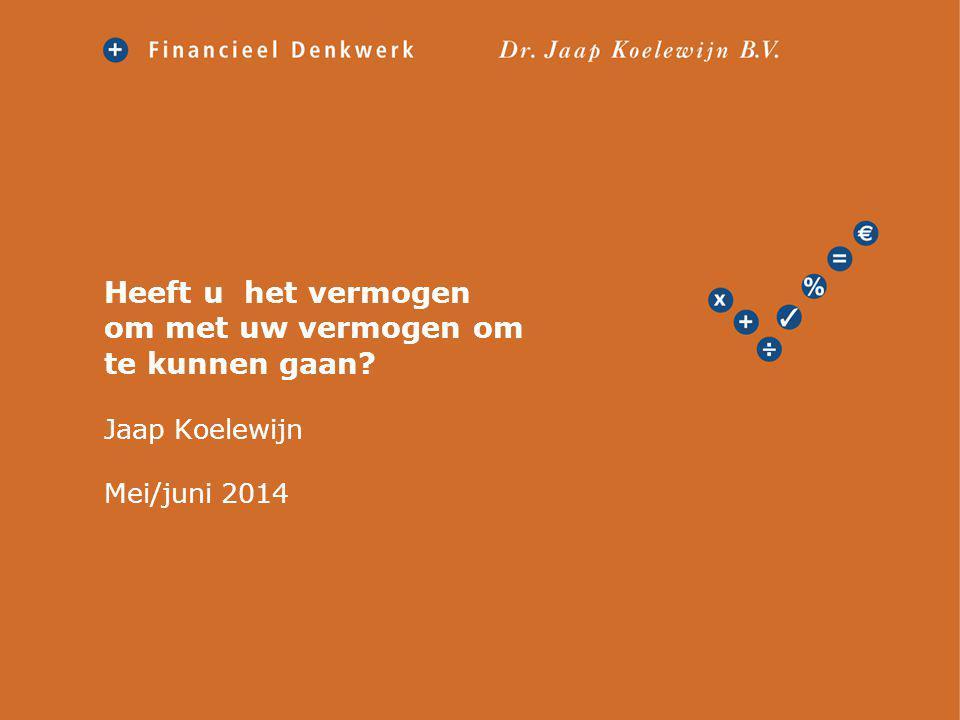 Kennismaking Jaap Koelewijn; Amsterdam 1956; Studie economie en promotie aan de VU (1992) Werkzaam in de financiële sector; MeesPierson; Rabo; AFM Sinds 2000 zelfstandig Advies is mensenwerk