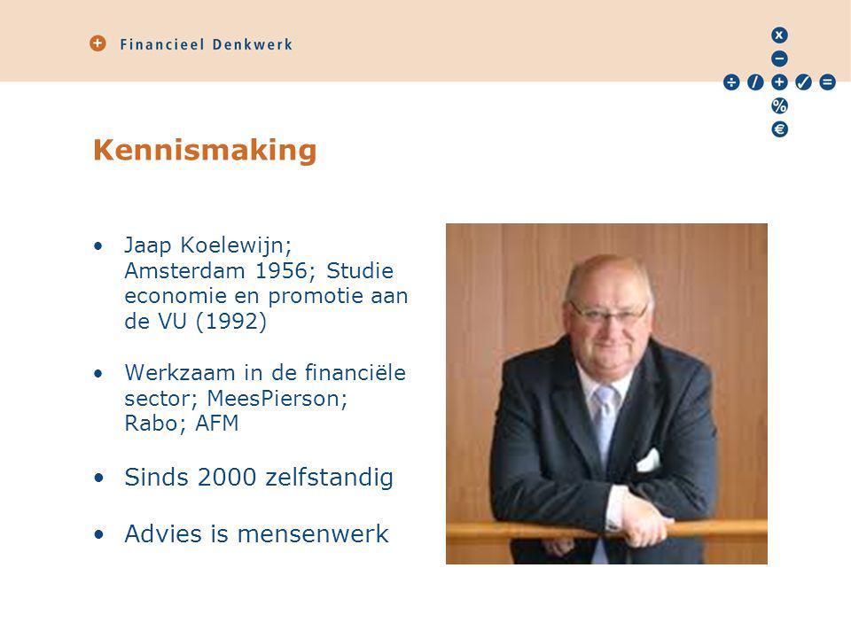 Kennismaking Jaap Koelewijn; Amsterdam 1956; Studie economie en promotie aan de VU (1992) Werkzaam in de financiële sector; MeesPierson; Rabo; AFM Sin