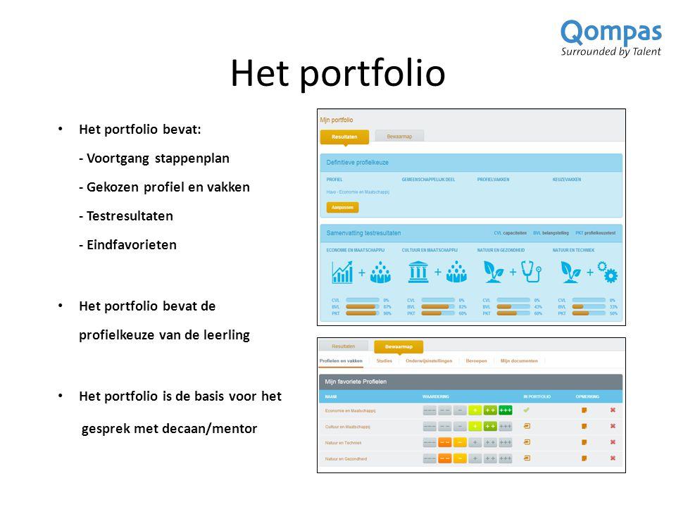 Het portfolio Het portfolio bevat: - Voortgang stappenplan - Gekozen profiel en vakken - Testresultaten - Eindfavorieten Het portfolio bevat de profielkeuze van de leerling Het portfolio is de basis voor het gesprek met decaan/mentor