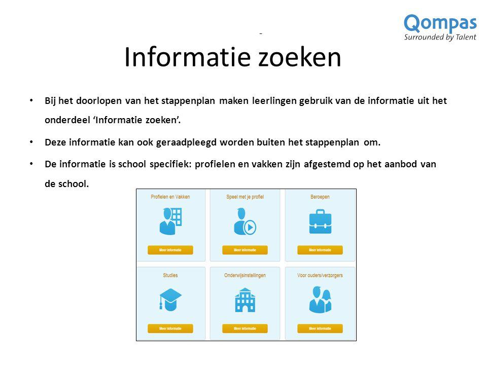 Informatie zoeken - Bij het doorlopen van het stappenplan maken leerlingen gebruik van de informatie uit het onderdeel 'Informatie zoeken'.