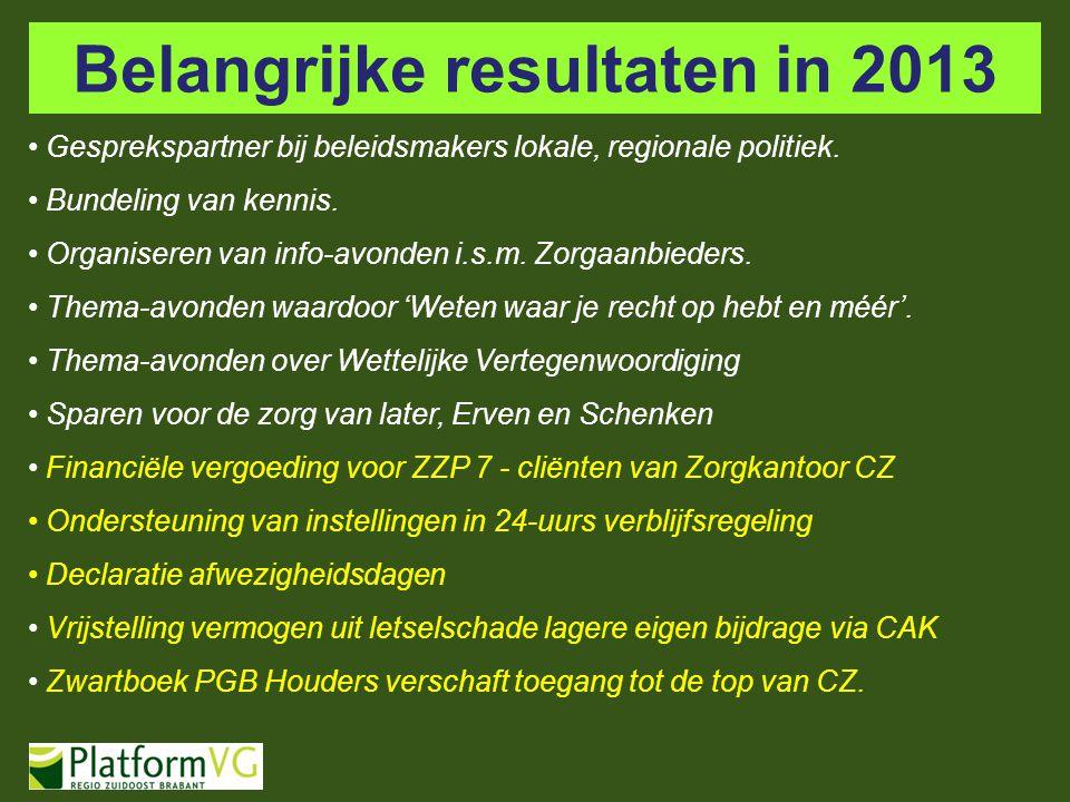 Belangrijke resultaten in 2013 Gesprekspartner bij beleidsmakers lokale, regionale politiek. Bundeling van kennis. Organiseren van info-avonden i.s.m.
