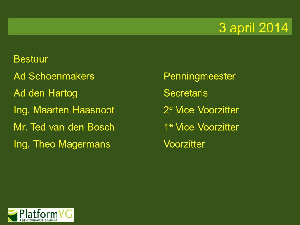 Bestuur Ad SchoenmakersPenningmeester Ad den HartogSecretaris Ing. Maarten Haasnoot2 e Vice Voorzitter Mr. Ted van den Bosch1 e Vice Voorzitter Ing. T