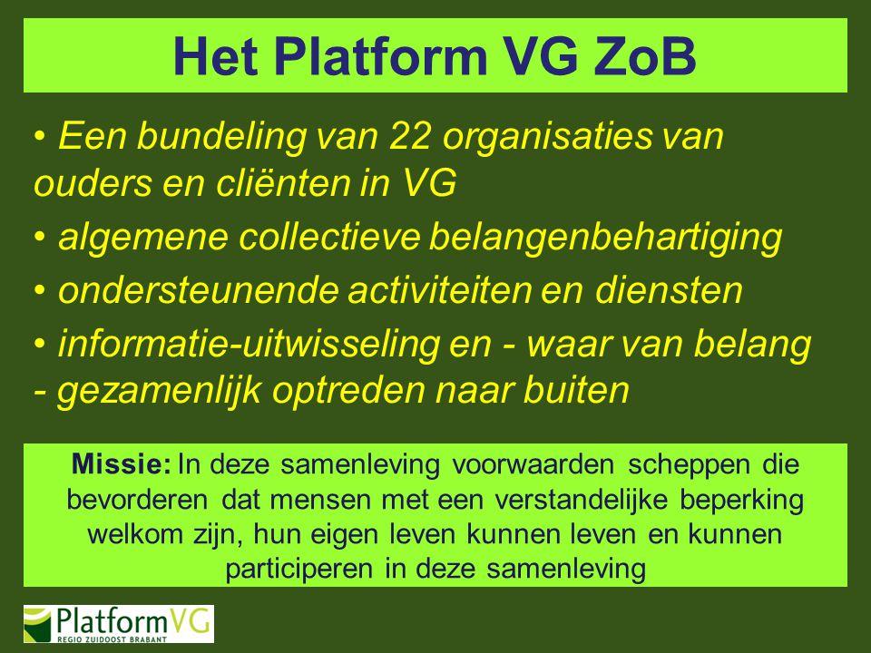 Het Platform VG ZoB Een bundeling van 22 organisaties van ouders en cliënten in VG algemene collectieve belangenbehartiging ondersteunende activiteite