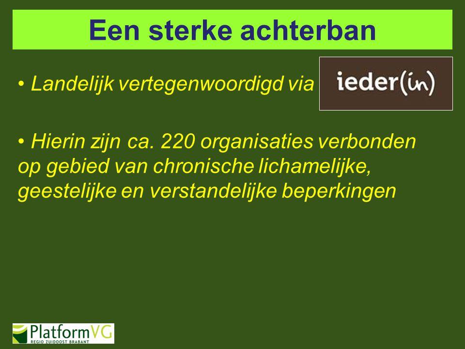 Een sterke achterban Landelijk vertegenwoordigd via Hierin zijn ca. 220 organisaties verbonden op gebied van chronische lichamelijke, geestelijke en v