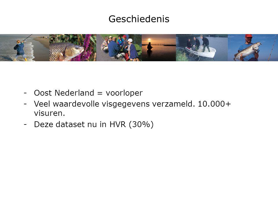 Geschiedenis -Oost Nederland = voorloper -Veel waardevolle visgegevens verzameld.