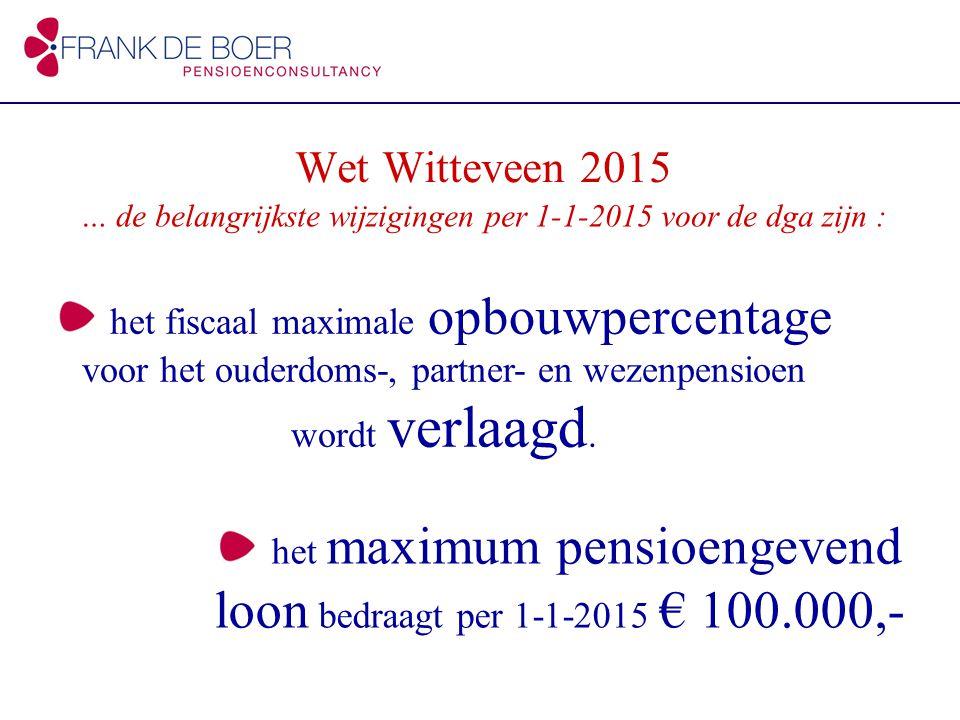 het maximum pensioengevend loon bedraagt per 1-1-2015 € 100.000,- Wet Witteveen 2015 het fiscaal maximale opbouwpercentage voor het ouderdoms-, partner- en wezenpensioen wordt verlaagd.