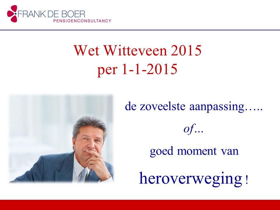 de zoveelste aanpassing….. of… goed moment van heroverweging ! Wet Witteveen 2015 per 1-1-2015