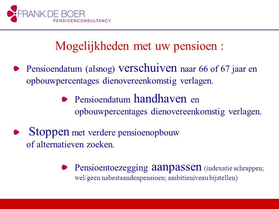 Pensioendatum (alsnog) verschuiven naar 66 of 67 jaar en opbouwpercentages dienovereenkomstig verlagen. Mogelijkheden met uw pensioen : Pensioendatum