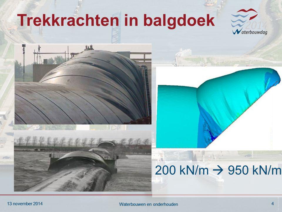 13 november 20144 Waterbouwen en onderhouden 13 november 20144 Waterbouwen en onderhouden 13 november 20144 Waterbouwen en onderhouden Trekkrachten in balgdoek 200 kN/m  950 kN/m
