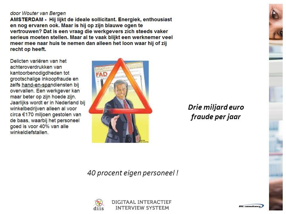 40 procent eigen personeel ! Drie miljard euro fraude per jaar