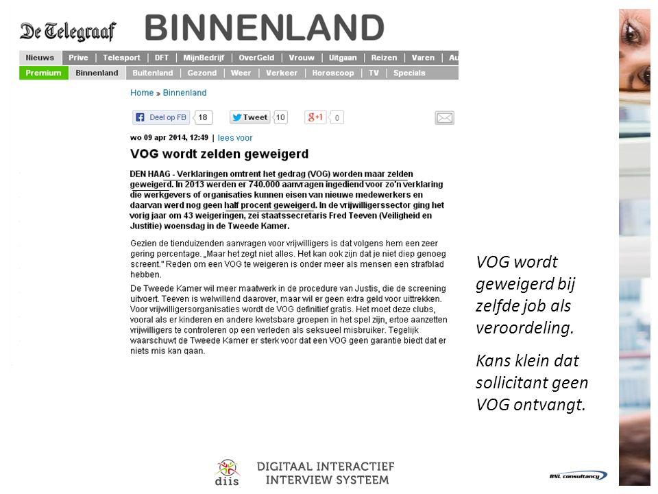 VOG wordt geweigerd bij zelfde job als veroordeling. Kans klein dat sollicitant geen VOG ontvangt.
