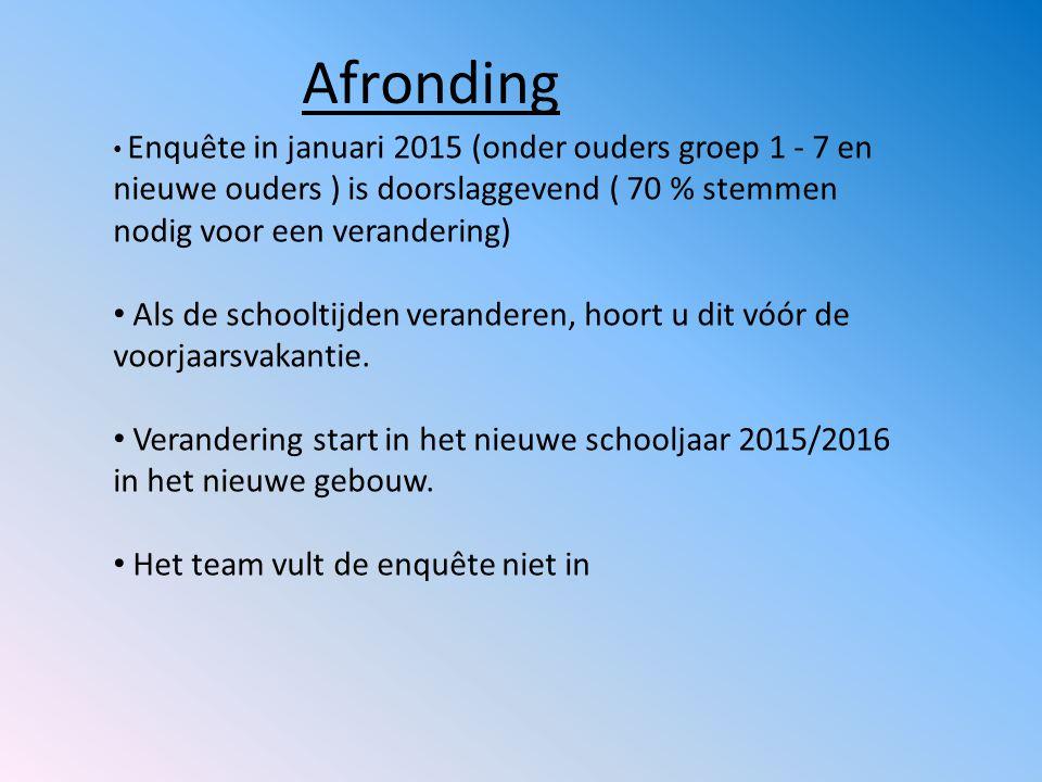 Afronding Enquête in januari 2015 (onder ouders groep 1 - 7 en nieuwe ouders ) is doorslaggevend ( 70 % stemmen nodig voor een verandering) Als de sch