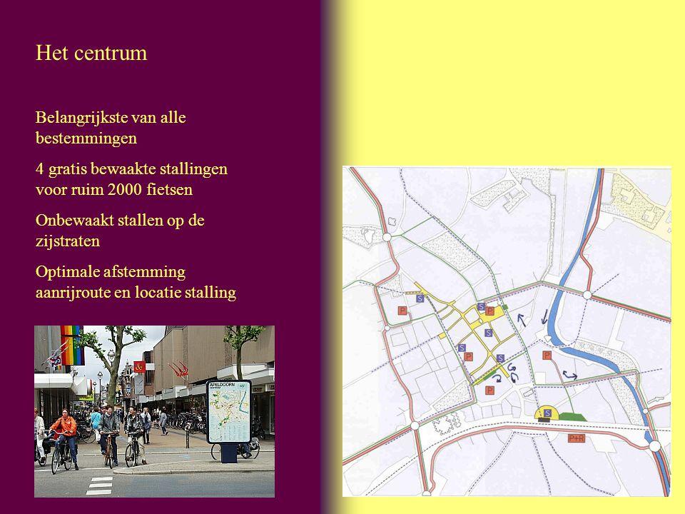 Het centrum Belangrijkste van alle bestemmingen 4 gratis bewaakte stallingen voor ruim 2000 fietsen Onbewaakt stallen op de zijstraten Optimale afstem