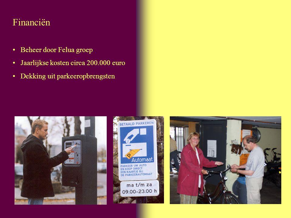 Financiën Beheer door Felua groep Jaarlijkse kosten circa 200.000 euro Dekking uit parkeeropbrengsten
