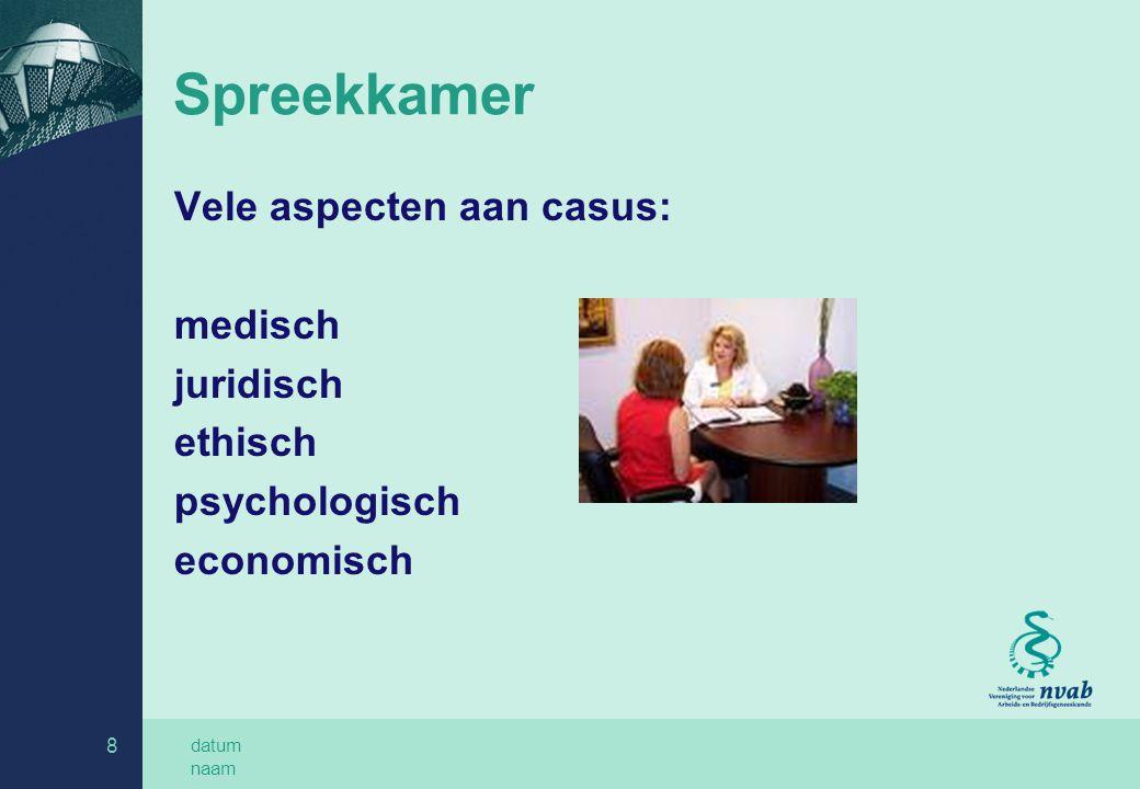 datum naam 9 Buiten spreekkamer Adviseur, gevraagd en ongevraagd SMO/ SMT Werkplek Team met andere arbozorgprofessionals