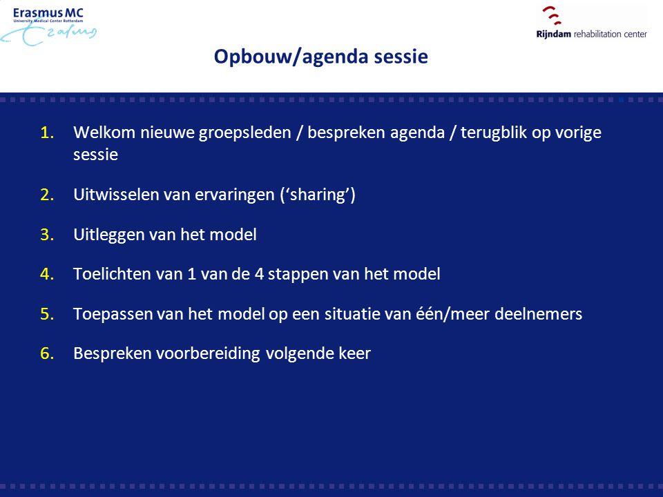 Opbouw/agenda sessie 1.Welkom nieuwe groepsleden / bespreken agenda / terugblik op vorige sessie 2.Uitwisselen van ervaringen ('sharing') 3.Uitleggen