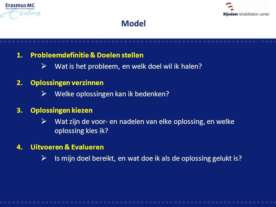 Model 1.Probleemdefinitie & Doelen stellen  Wat is het probleem, en welk doel wil ik halen? 2.Oplossingen verzinnen  Welke oplossingen kan ik bedenk