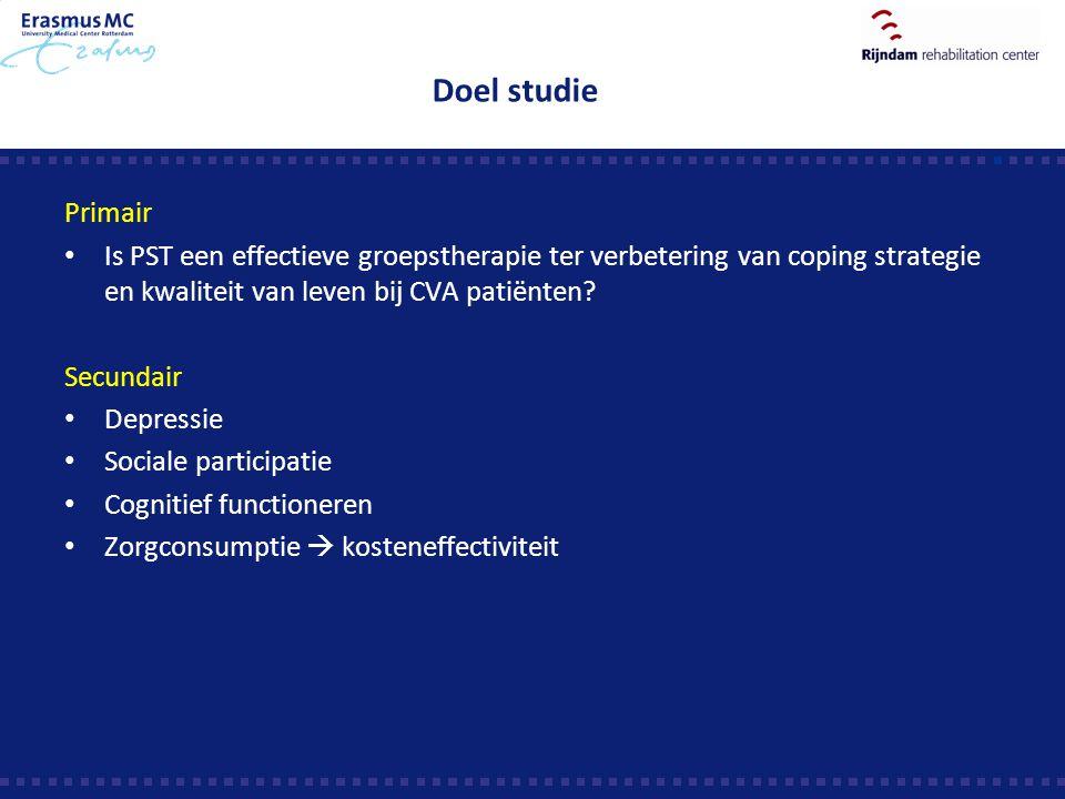 Doel studie Primair Is PST een effectieve groepstherapie ter verbetering van coping strategie en kwaliteit van leven bij CVA patiënten? Secundair Depr