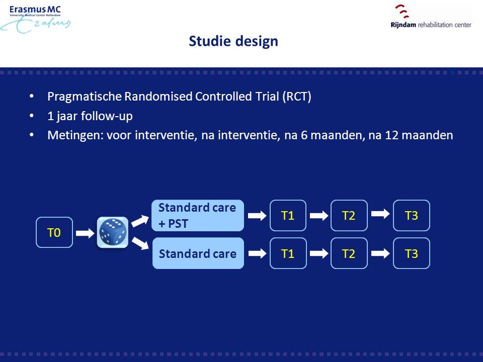 Studie design Pragmatische Randomised Controlled Trial (RCT) 1 jaar follow-up Metingen: voor interventie, na interventie, na 6 maanden, na 12 maanden
