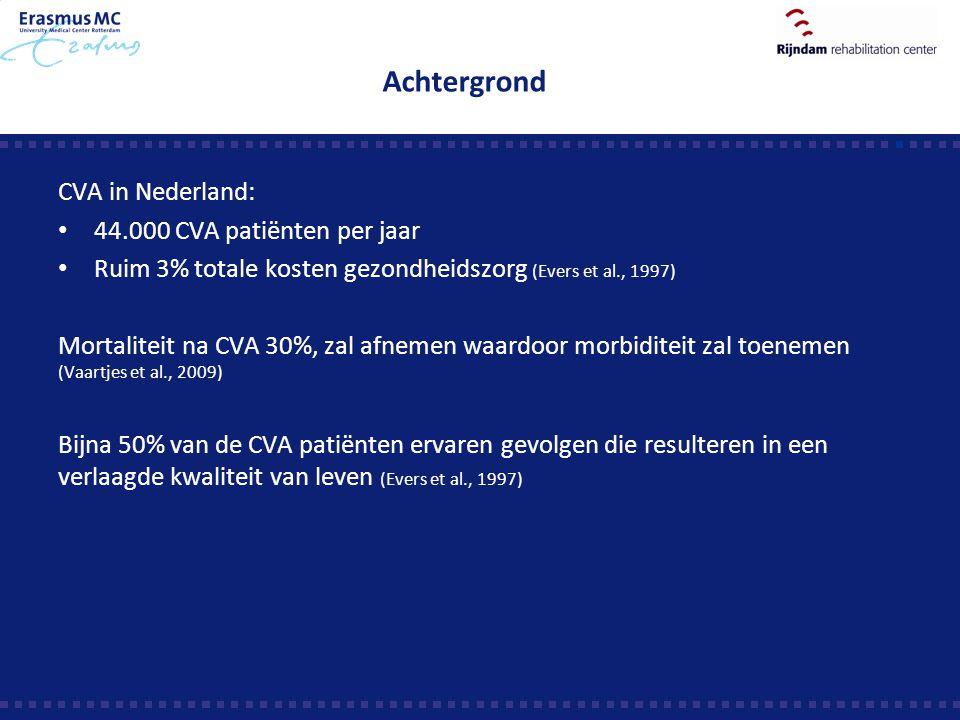 Achtergrond CVA in Nederland: 44.000 CVA patiënten per jaar Ruim 3% totale kosten gezondheidszorg (Evers et al., 1997) Mortaliteit na CVA 30%, zal afn