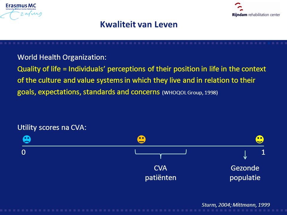 Kwaliteit van Leven World Health Organization: Quality of life = Individuals' perceptions of their position in life in the context of the culture and