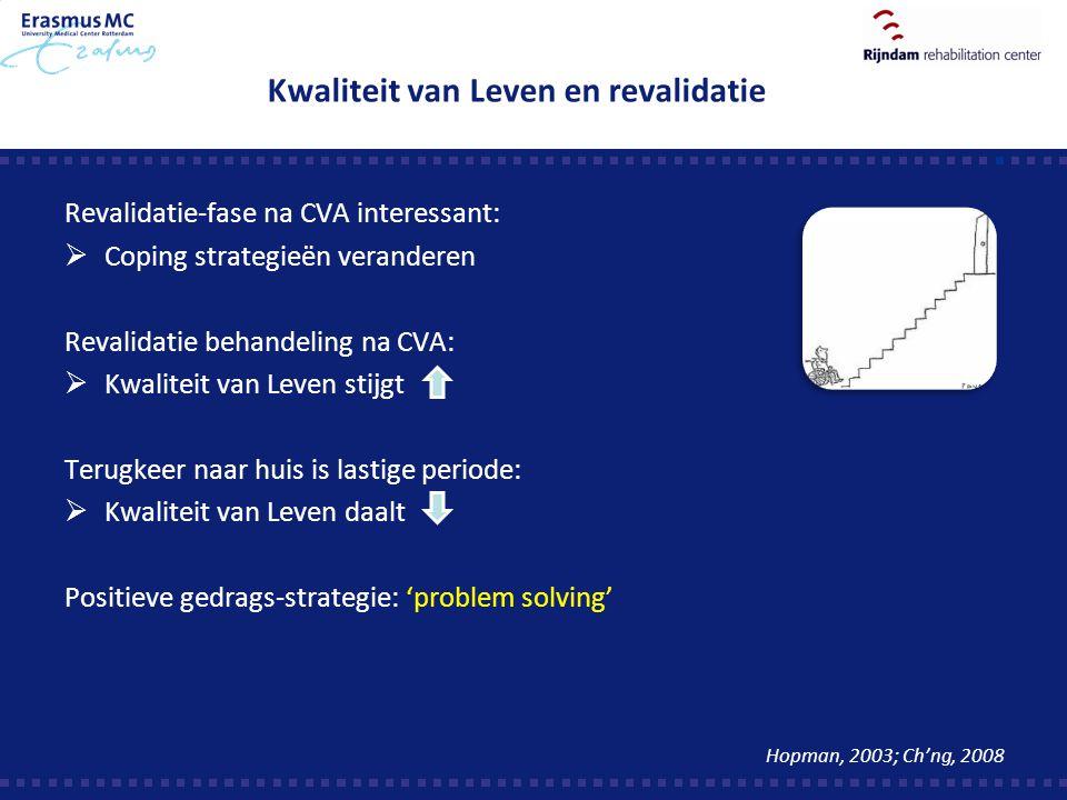 Kwaliteit van Leven en revalidatie Revalidatie-fase na CVA interessant:  Coping strategieën veranderen Revalidatie behandeling na CVA:  Kwaliteit va