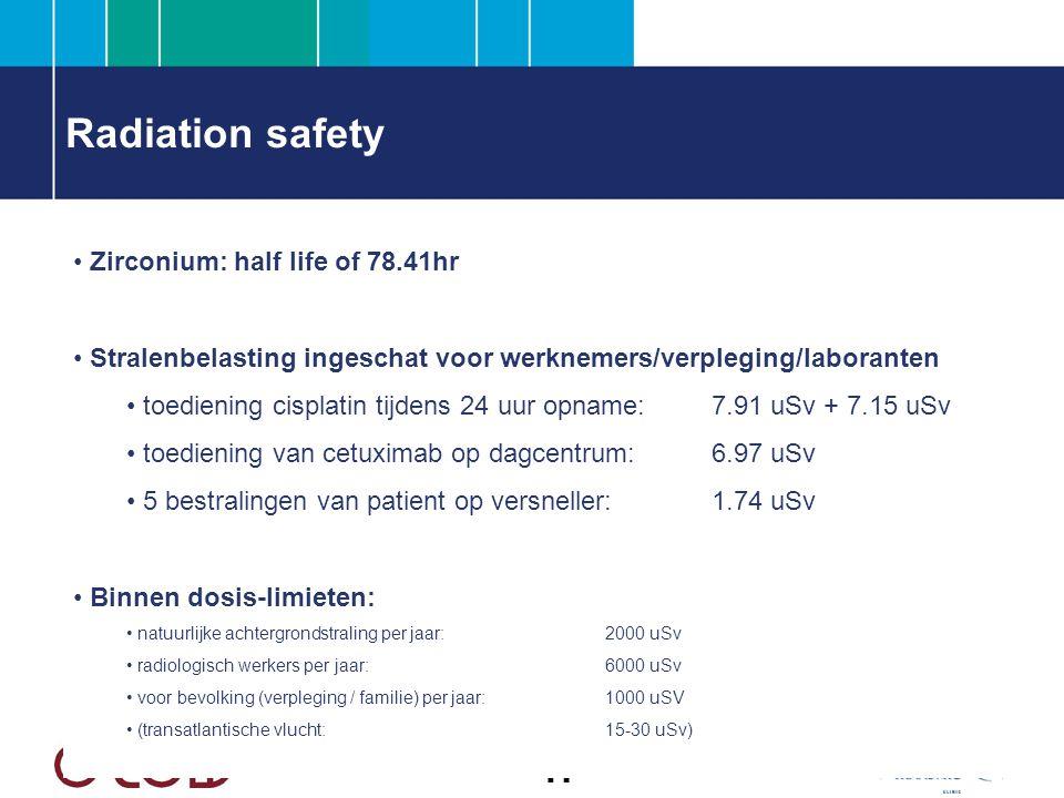 Radiation safety Zirconium: half life of 78.41hr Stralenbelasting ingeschat voor werknemers/verpleging/laboranten toediening cisplatin tijdens 24 uur opname: 7.91 uSv + 7.15 uSv toediening van cetuximab op dagcentrum:6.97 uSv 5 bestralingen van patient op versneller:1.74 uSv Binnen dosis-limieten: natuurlijke achtergrondstraling per jaar:2000 uSv radiologisch werkers per jaar:6000 uSv voor bevolking (verpleging / familie) per jaar:1000 uSV (transatlantische vlucht:15-30 uSv)