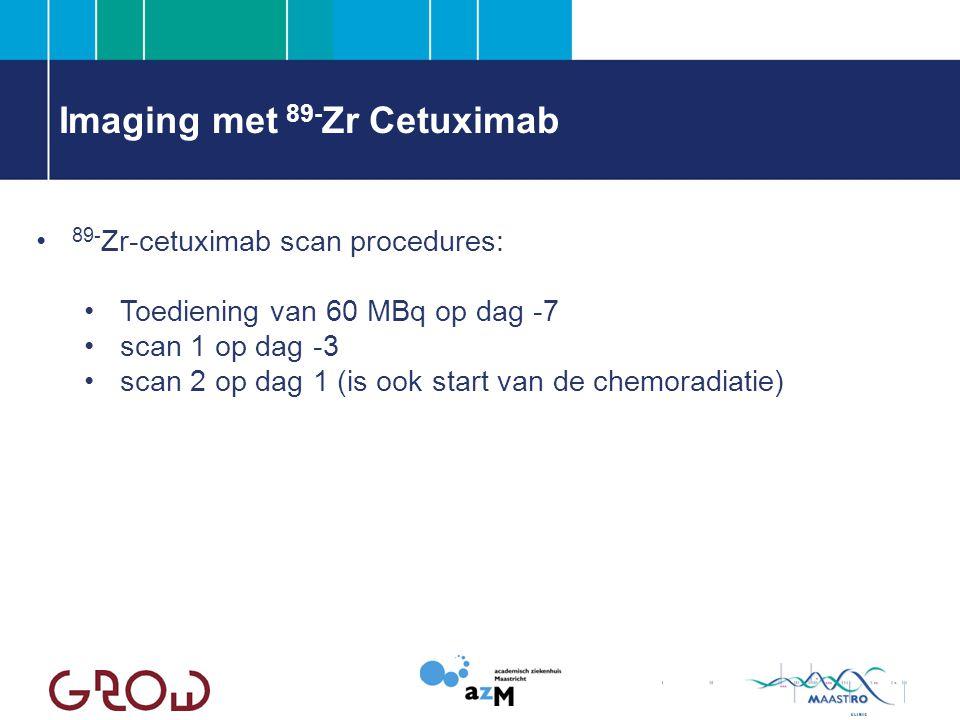 Imaging met 89- Zr Cetuximab 89- Zr-cetuximab scan procedures: Toediening van 60 MBq op dag -7 scan 1 op dag -3 scan 2 op dag 1 (is ook start van de chemoradiatie)