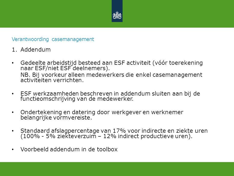 Verantwoording casemanagement 1.Addendum Gedeelte arbeidstijd besteed aan ESF activiteit (vóór toerekening naar ESF/niet ESF deelnemers).