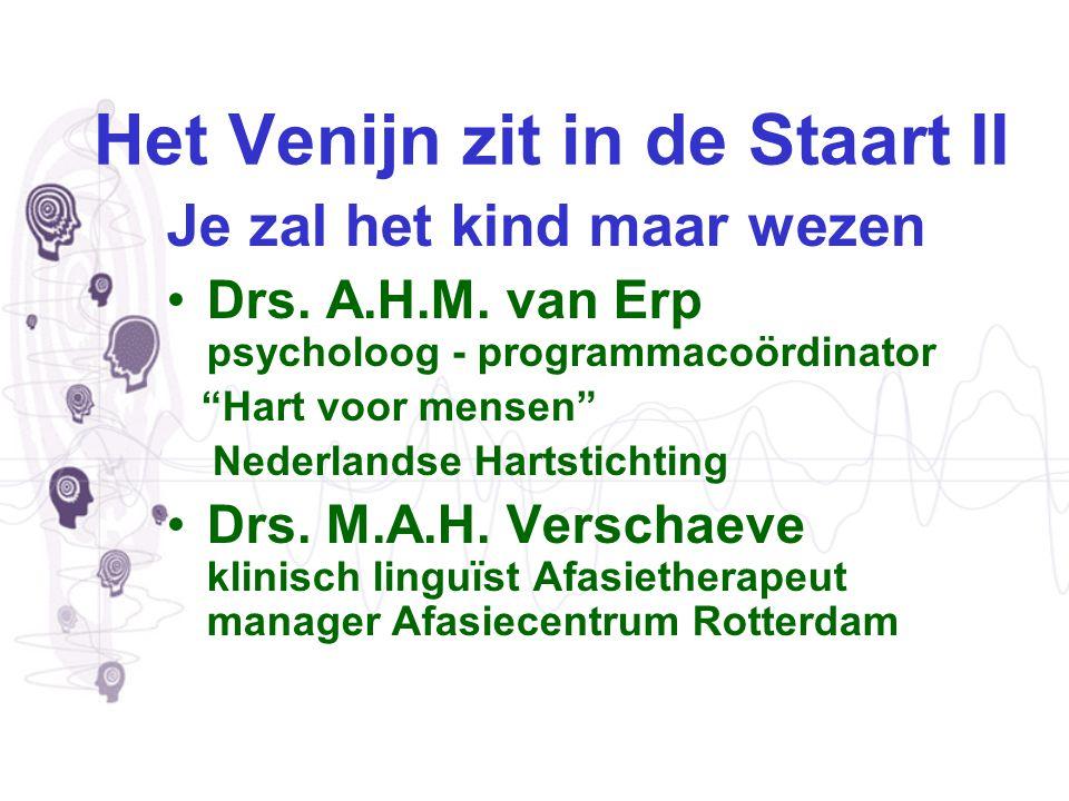 Programma Inleiding & projecten in Nederland Mia Verschaeve Afasiecentrum Rotterdam Jongeren aan het woord -> DVD Kinderweekends Jos van Erp Nederlandse Hartstichting