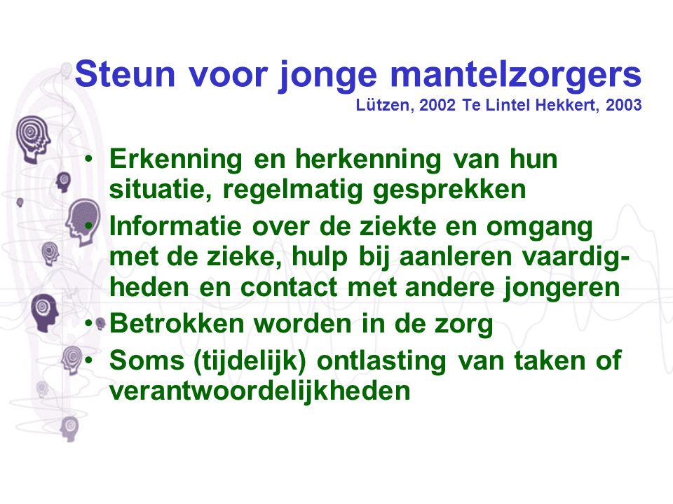 Steun voor jonge mantelzorgers Lützen, 2002 Te Lintel Hekkert, 2003 Erkenning en herkenning van hun situatie, regelmatig gesprekken Informatie over de