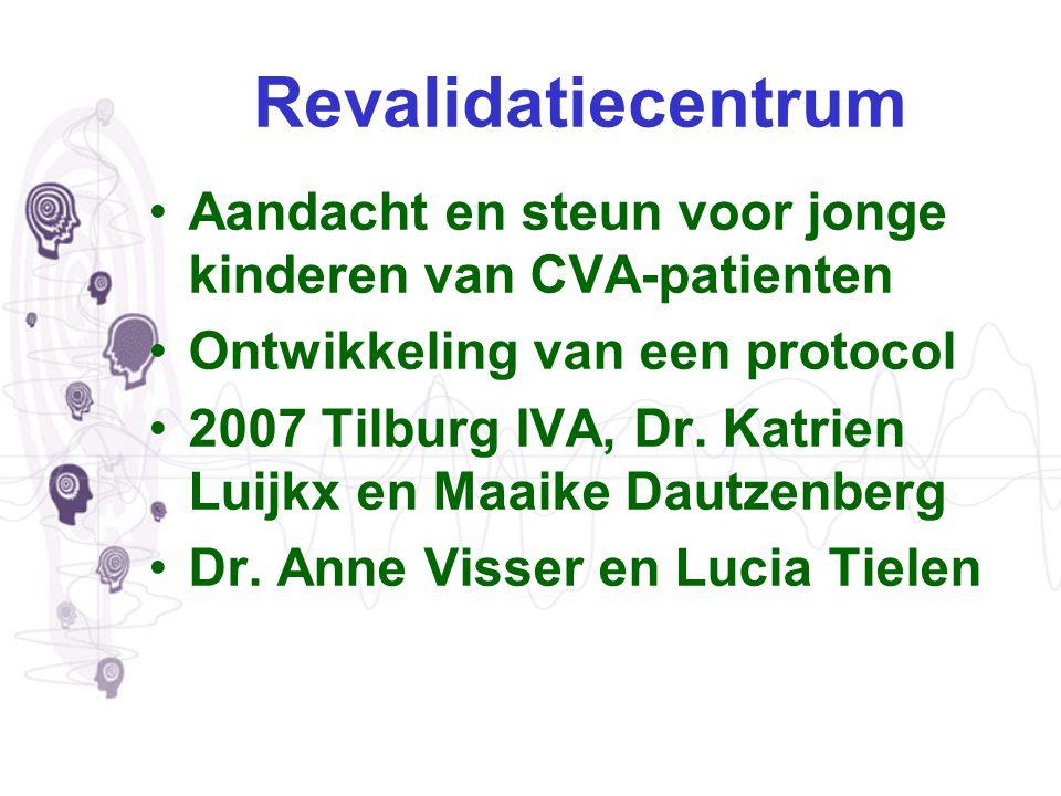Revalidatiecentrum Aandacht en steun voor jonge kinderen van CVA-patienten Ontwikkeling van een protocol 2007 Tilburg IVA, Dr. Katrien Luijkx en Maaik