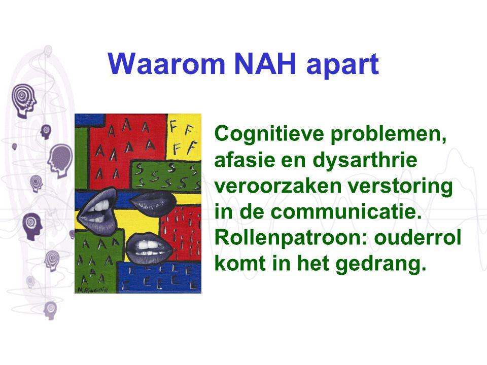 Waarom NAH apart Cognitieve problemen, afasie en dysarthrie veroorzaken verstoring in de communicatie. Rollenpatroon: ouderrol komt in het gedrang.