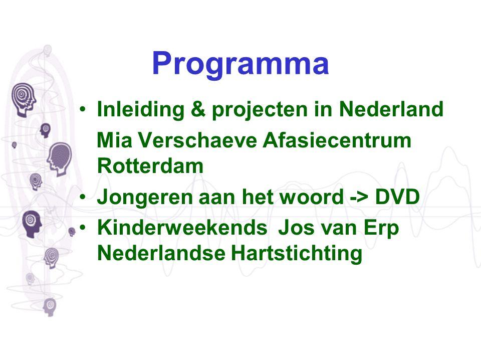 Programma Inleiding & projecten in Nederland Mia Verschaeve Afasiecentrum Rotterdam Jongeren aan het woord -> DVD Kinderweekends Jos van Erp Nederland