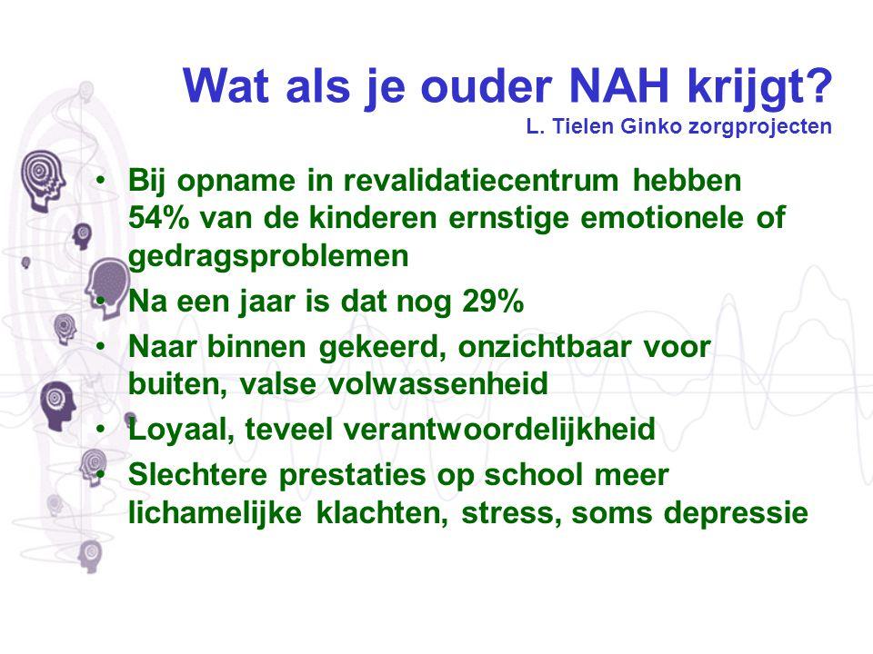 Wat als je ouder NAH krijgt? L. Tielen Ginko zorgprojecten Bij opname in revalidatiecentrum hebben 54% van de kinderen ernstige emotionele of gedragsp