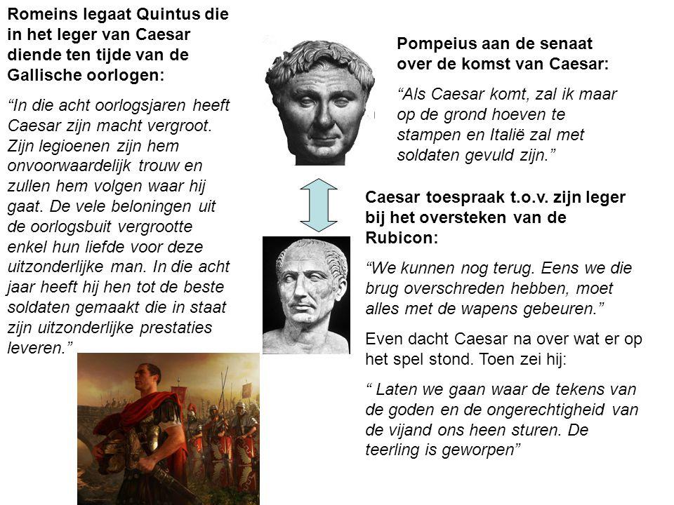 """Pompeius aan de senaat over de komst van Caesar: """"Als Caesar komt, zal ik maar op de grond hoeven te stampen en Italië zal met soldaten gevuld zijn."""""""